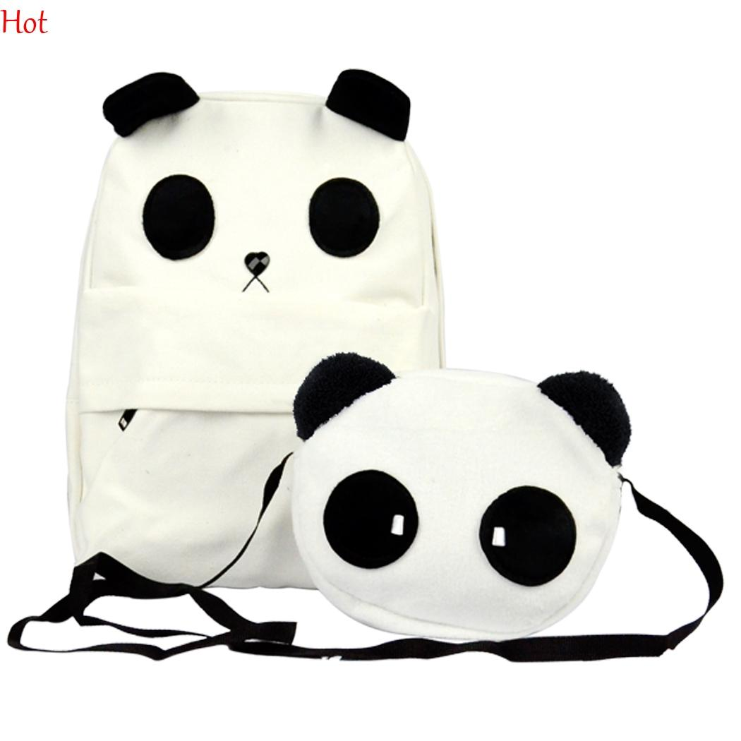 e3de28964b Fashion Backpacks Korean Style Womens Lovely Panda Canvas Backpack With  Small Panda Crossbody Shoulder Composite Bags White Schoolbag 6299  Swissgear ...