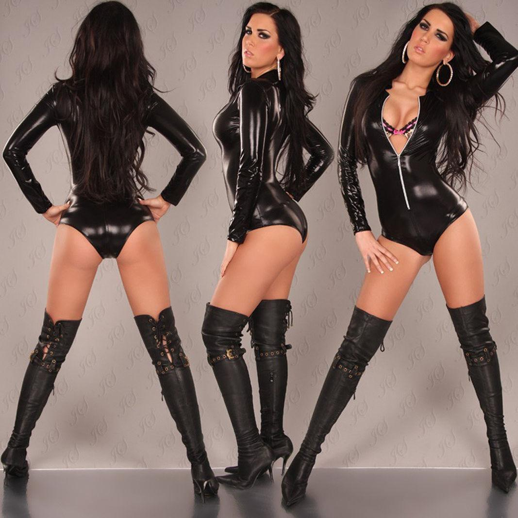 2017 Adult Leather Lingerie Sexy Jumpsuit Costumes For Women Pvc ...