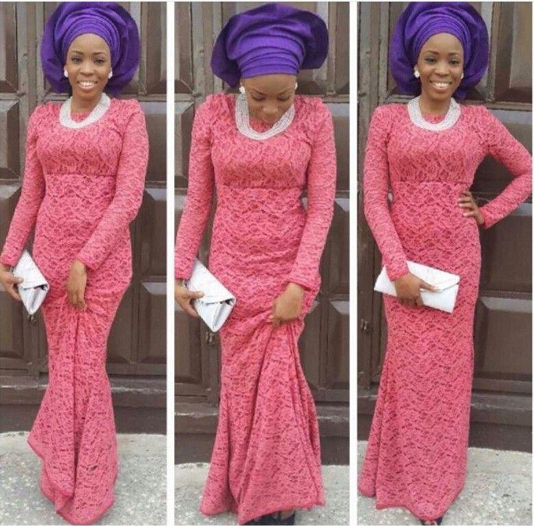 aso ebi Styles Women Evening Dresses bellanaija weddings Wear Formal Party gowns nigerian lace styles Long Sleeve Evening Dress