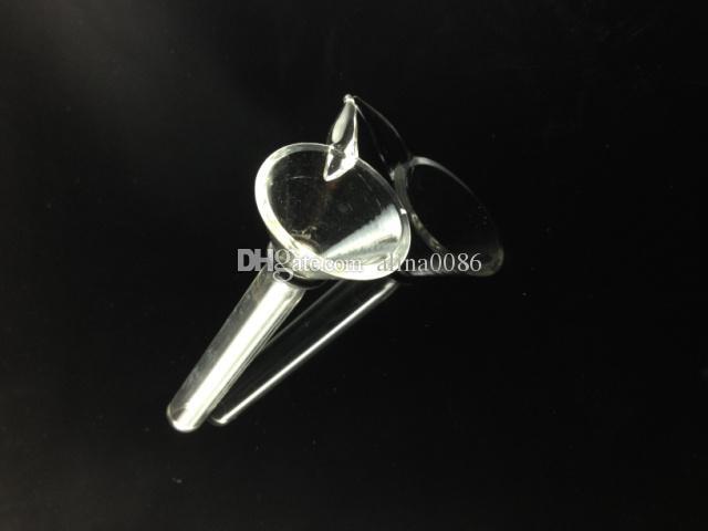 Glas-Stamm-Schieber-Trichter-Art mit Griff fertigen billiges Glas männliches Vorbau, einfaches downstem für Wasserleitung, Glasbong freies Verschiffen an