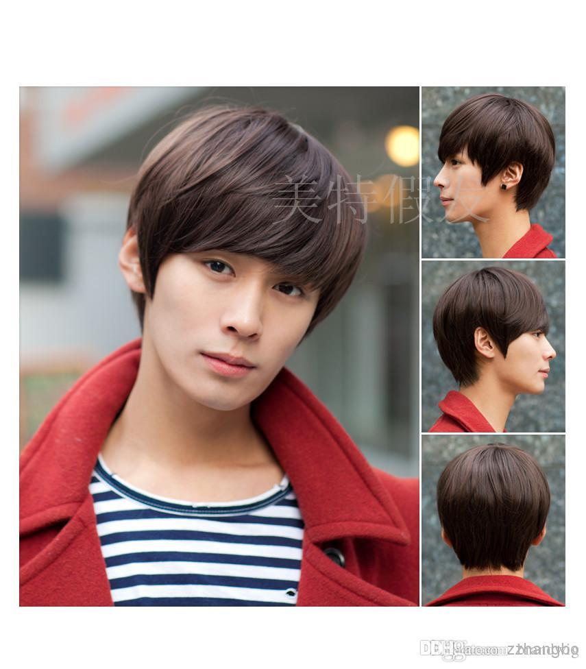 Short Hair Handsome Man Hand Woven Wig Hair Stylish Men Hands ... b66f347b862c