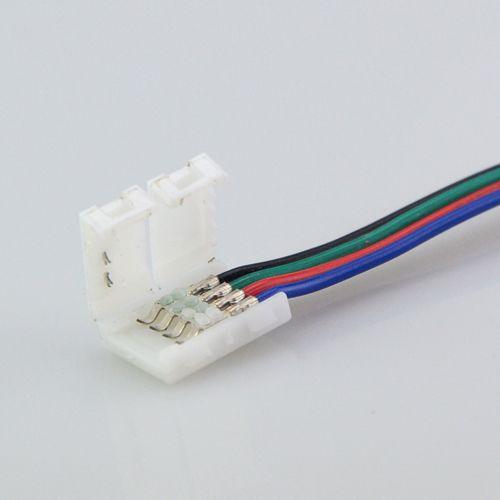 Connecteurs de lumière de bande RGB LED 10mm 4PIN Pas de câble de soudure Carte de circuit imprimé Fil à l'adaptateur 4 broches femelle pour SMD 3528 5050
