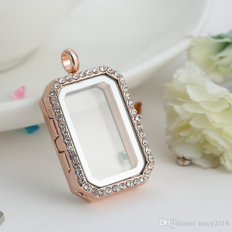 charm Memory locket Floating rectangle Locket with diamonds of high quality transparent glass photo frames floating charm lockets pendants