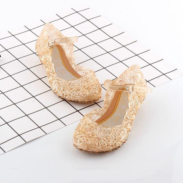 Nuevos niños Zapatos Chica Princesa Zapatos Sandalias de Cristal Azul Chicas Zapatos de Cosplay Agujero de PVC Azul Sandalia de copo de nieve para niños