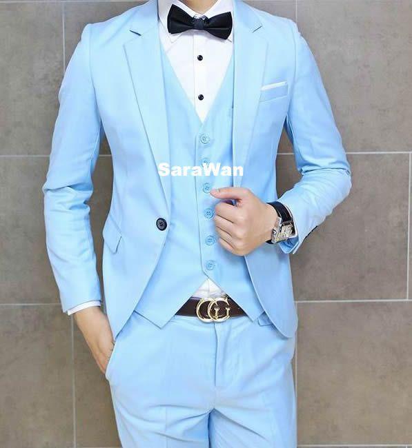 Sky Blue Suit Tan Shoes