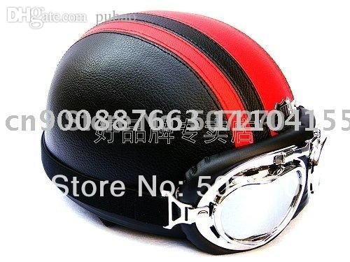 Wholesale Leather Half Bol Cycling Motorcycle Half Face Black