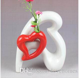Nowoczesny kształt serca ceramiczny wazon do wystroju domowego Wazon stołowy czarno-białe kolory