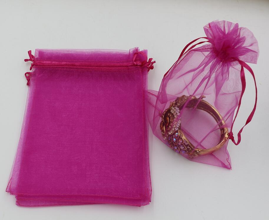 تنزيلات حاره ! التي روز الأحمر الأورجانزا حقائب مجوهرات الحقيبة هدية لحفل زفاف تفضل ، الخرز ، والمجوهرات 7x9cm 9X11cm 13 × 18. 20 × 30 سم 316