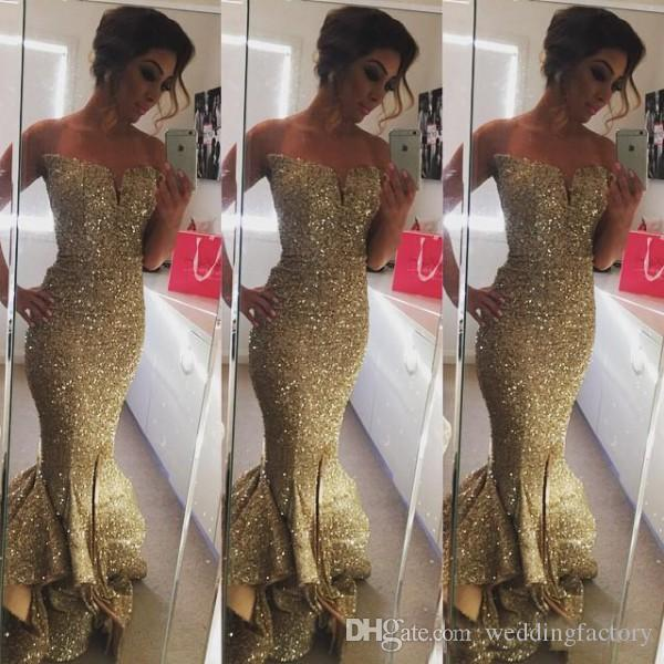 Eleganti abiti da ballo con paillettes Sparkly Champagne con paillettes Sirena aderente da sera Abiti da spettacolo Pageantina con scollo a cuore increspato