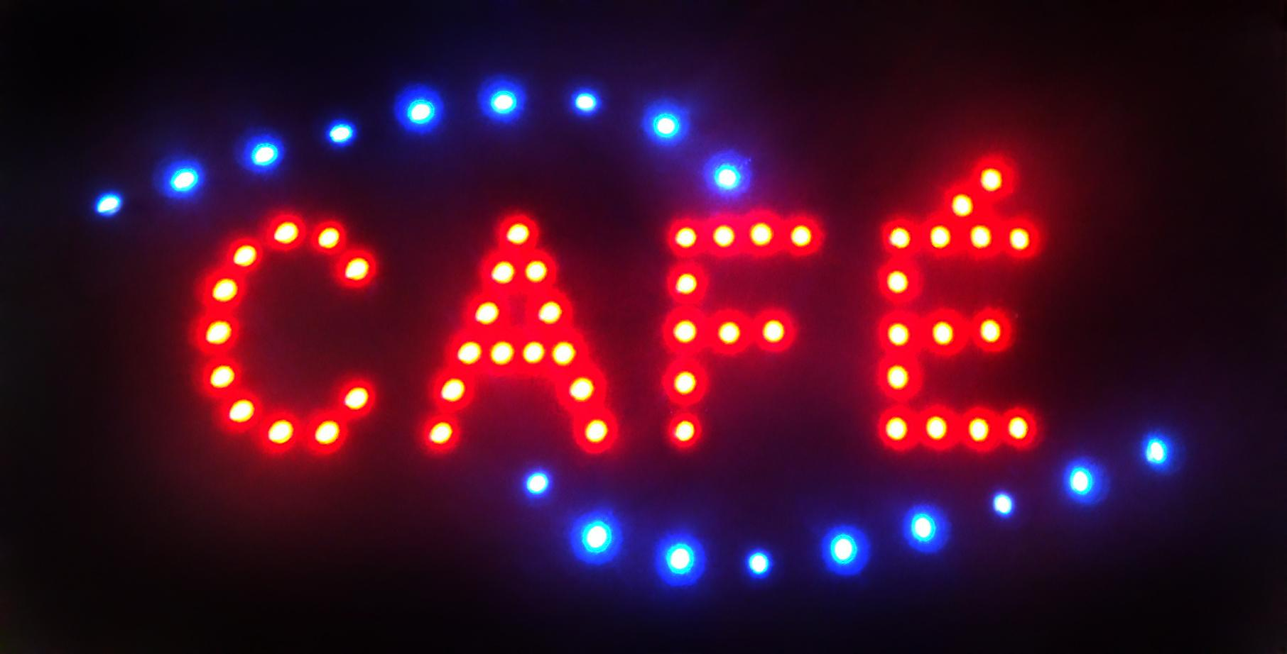 2016 Ultra Bright LED Neon Sign Cafe Light Animated LED Cafe Neon Sign  billboard size 19 x 10 Free Shipping