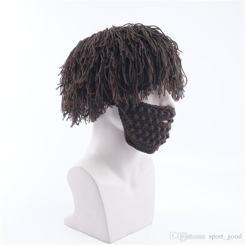 Inverno novo gorro chapéu homens chapéu de malha lã ao ar livre chapéu quente handmade bigode halloween wig bonés ao ar livre headwear boné