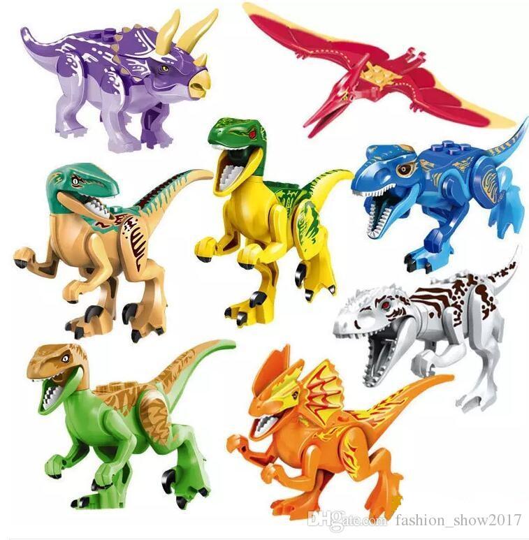 Dinossauros do bloco de quebra-cabeça tijolos dinossauros Figuras Building Blocks do bebê Educação brinquedos para crianças caçoa o presente Toy