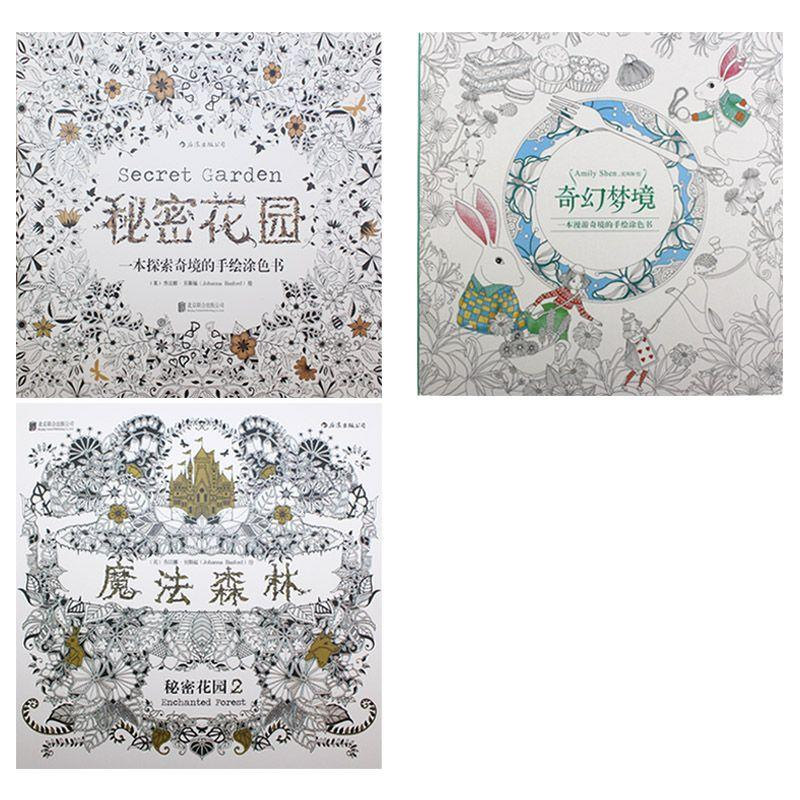 Secret Garden Coloring Book Magic Wonderland Enchanted Forest Relieve Stress Painting Drawing BookGift 12 Colors Pencil