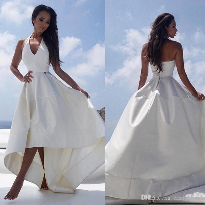 Großhandel 2018 White Satin High Low Stil Strand Brautkleider ...
