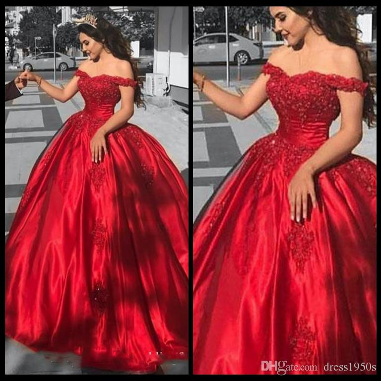 Elegant Arabic Ball Gown Prom Dresses Off the Shoulder Beaded Lace Appliques Puffy Red Evening Party Gowns Vestido Festa Custom Made