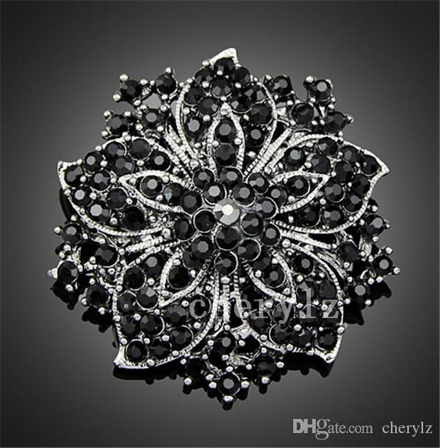 Beautiful Large Rhinestone Crystal Brooch Chinese Redbud Flower Brooches Pins Women Wedding Party Dress Jewelry Accessories DCBJ04-B