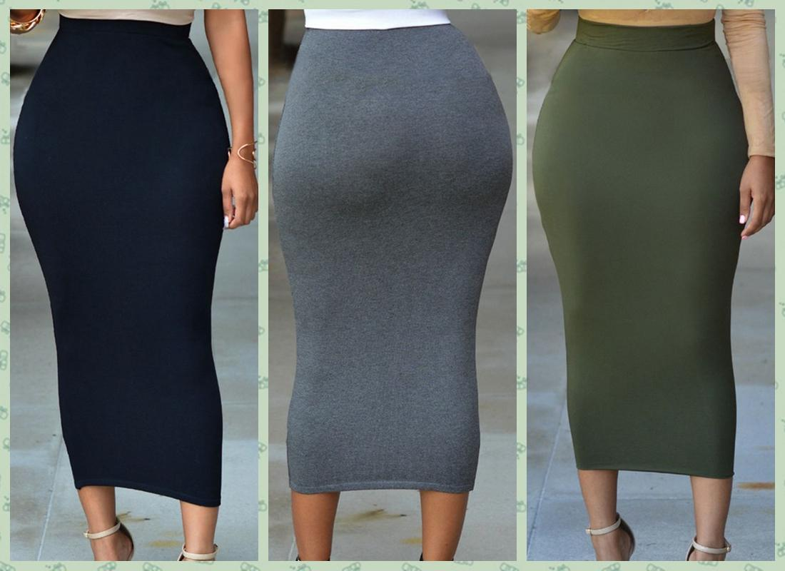 Discount Solid Black Grey Green Long Cotton Maxi Skirt