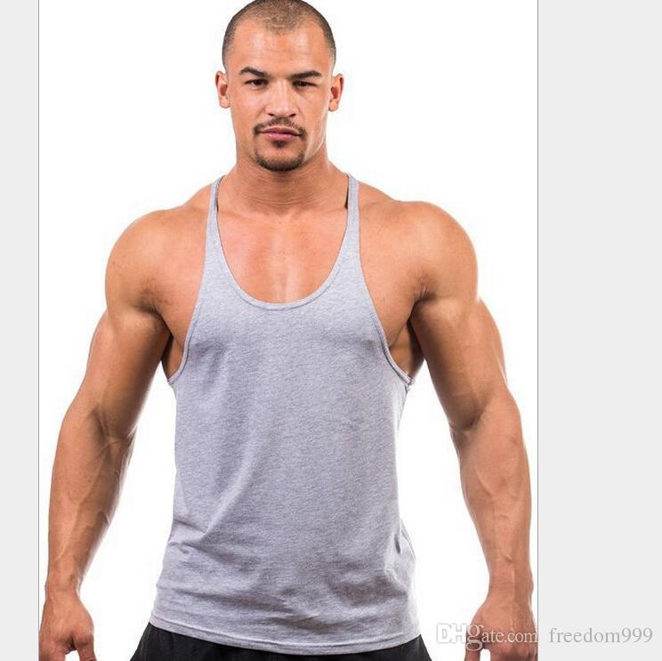 Hombres de la aptitud en blanco Stringer Algodón Tank Top Singlet Culturismo Deporte Sujetador Ropa Gimnasio Chaleco Muscle Singlet