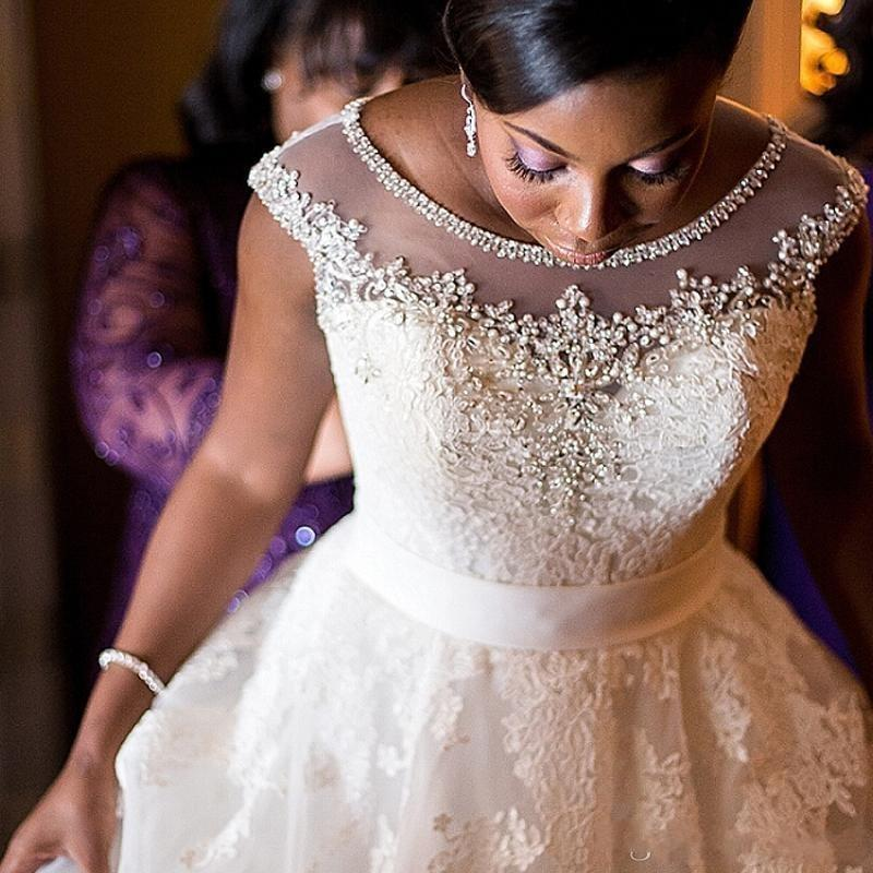Discount 2018 Crystal Sheer Neck Wedding Dresses Nigerian Plus Size ...