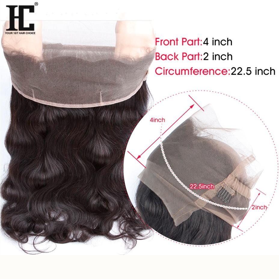 HC волос предварительно сорвал 360 кружева фронтальная с 3 пучками боди-волны бразильский фронтальная закрытие с волосами ребенка естественный черный не Реми волос