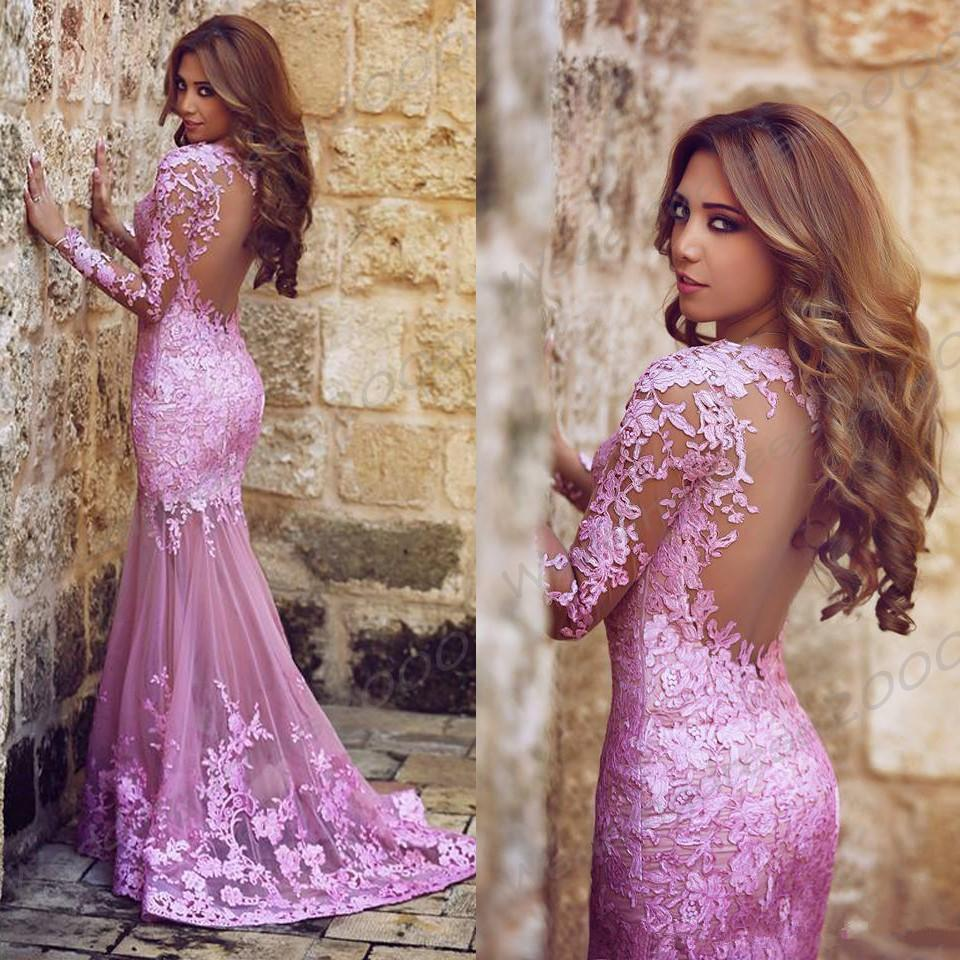 2018 New Said Mhamad Plum Lace Mermaid Prom Dresses Long Sleeve Backless Sweep Train Sweetheart Arabic Formal Party Evening Gowns 242