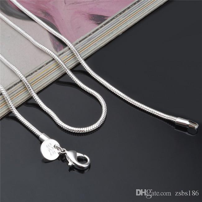 고품질 2MM 925 스털링 실버 뱀 체인 목걸이 16-24inches 패션 쥬얼리 공장 가격 무료 배송