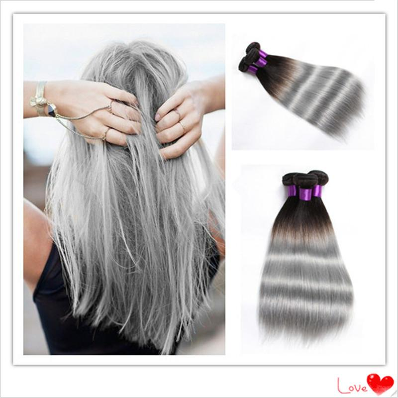 Ombre hair extensions 1b silver grey hair weave brazilian virgin ombre hair extensions 1b silver grey hair weave brazilian virgin straight human colored hair ombre human hair weave pmusecretfo Images