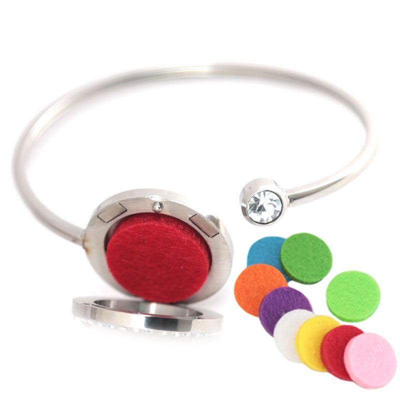 25mm Albero di autunno Cristallo Acciaio inossidabile Aromaterapia medaglione Bracciale Bangle diffusore di olio essenziale braccialetto medaglione con 10 pezzi di feltro