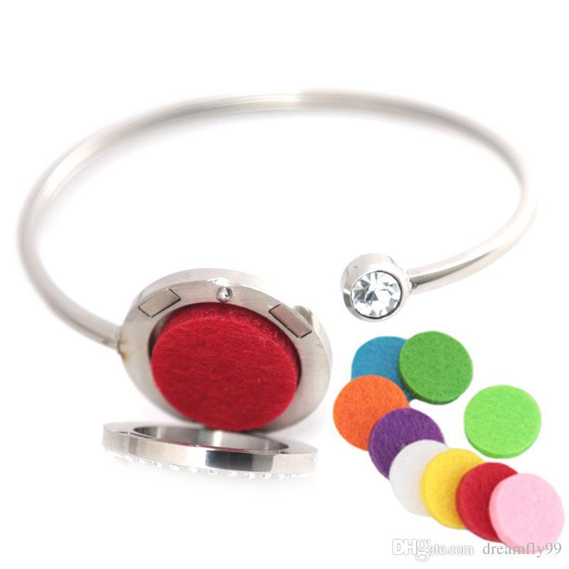25mm Ângulo Asa De Cristal De aço Inoxidável Aromaterapia medalhão pulseira Pulseira de difusor de óleo essencial pulseira com Sentiu almofadas