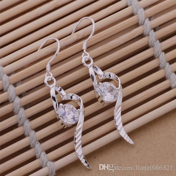 Moda fabricante de joyas 20 piezas mucho corazón de Nagao con pendientes de diamantes 925 fábrica de joyas de plata Moda brillo pendientes