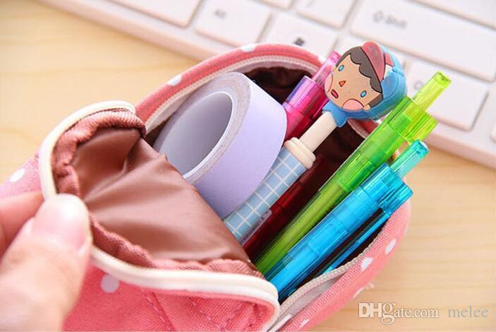 Free ups ship 2016 novo papelaria multifuncional grande capacidade lápis caso ponto saco de escola padrão cute caixa de armazenamento lápis sacola