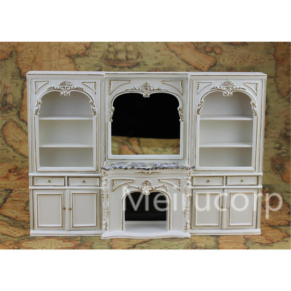 Wholesale  Dolls House Miniature Furniture 1/12 Scale Classical White  Handmade Gilt Fireplace And Wall Doll House Miniatures Miniature House  Furniture House ...
