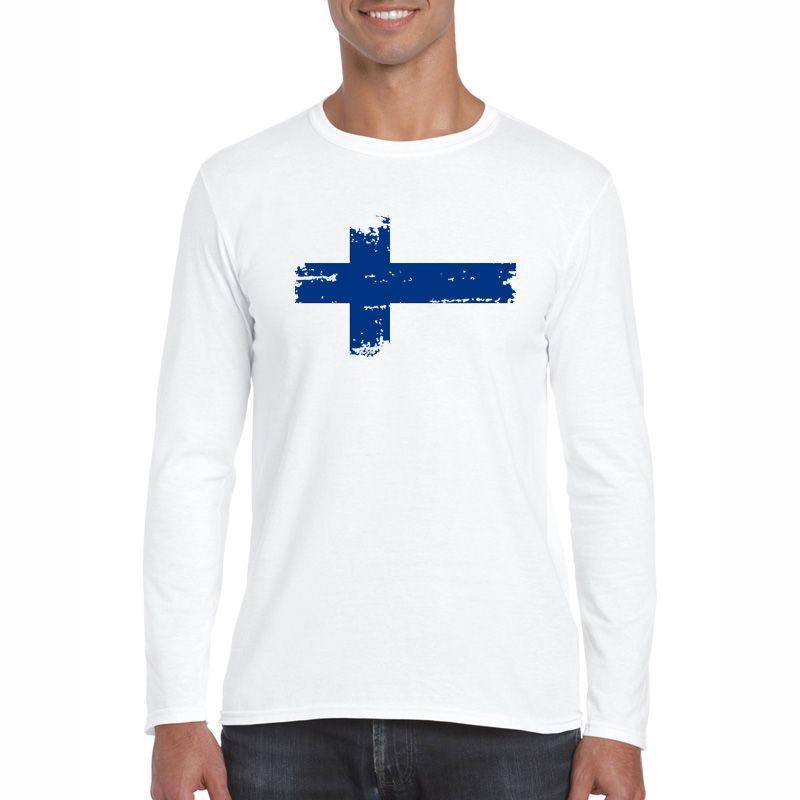 Finland National Flag Nostalgic Style T Shirts 2017 Autumn Men T-shirts Long Sleeve O Neck Cotton Casual Cheer Tees