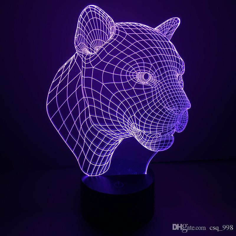 online cheap led toys novelty lamps night lights 3d led light cubes leopard cobra touch switch night light led color changing lamps by csq998 dhgatecom
