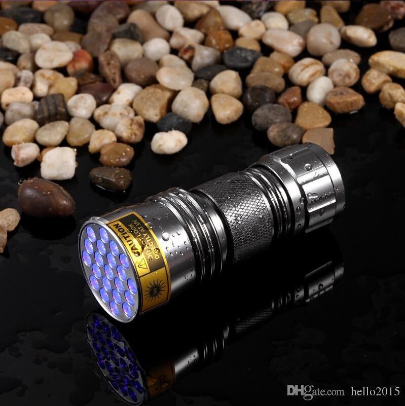 Vendita calda! -New Ultravioletto 21 LED Torcia elettrica Mini Blacklight Torcia in alluminio Lampada