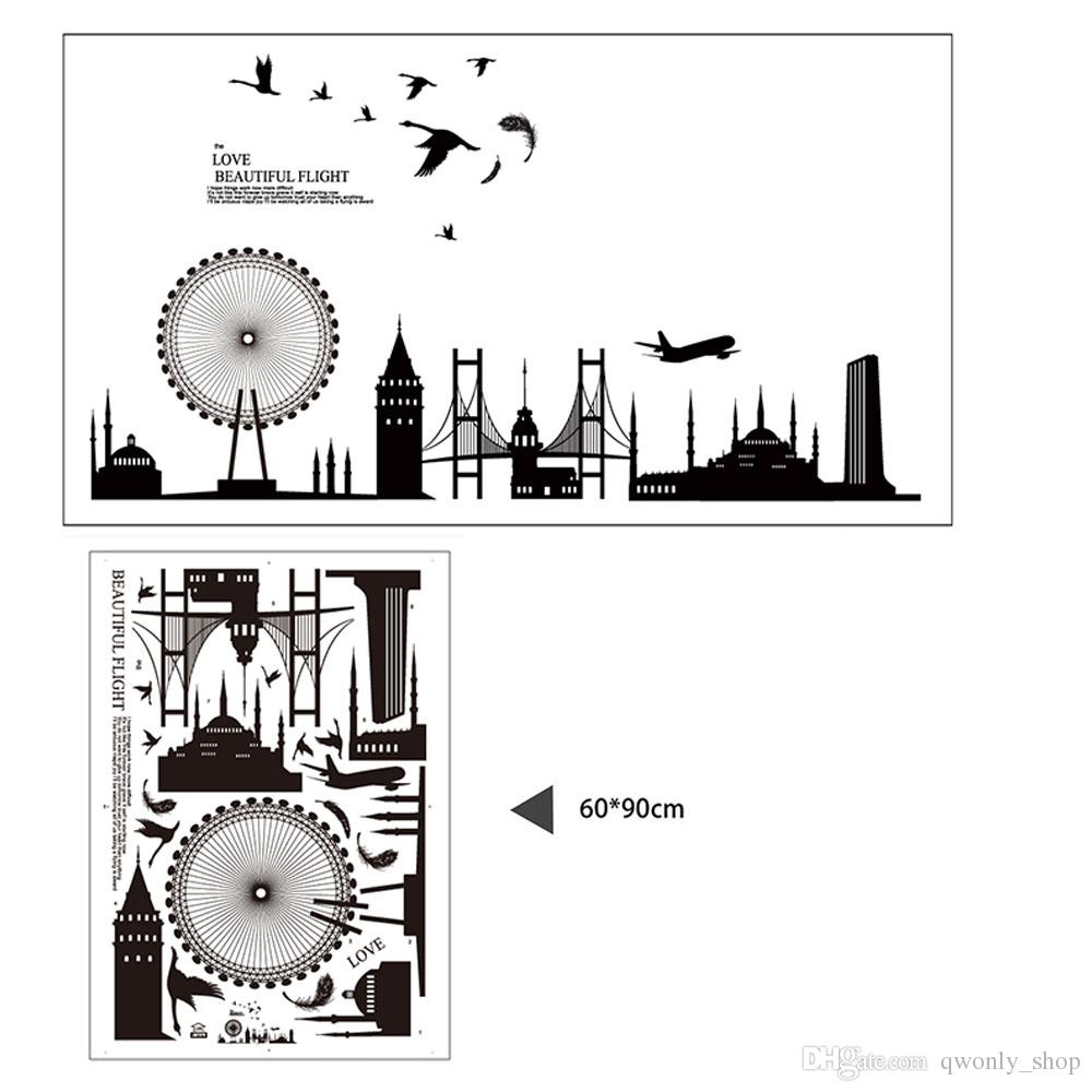 Removable Wall Sticker City Silhouette Buildings Art Decals Mural DIY Wallpaper for Room Decal 60 * 90cm Home Decor Decoration