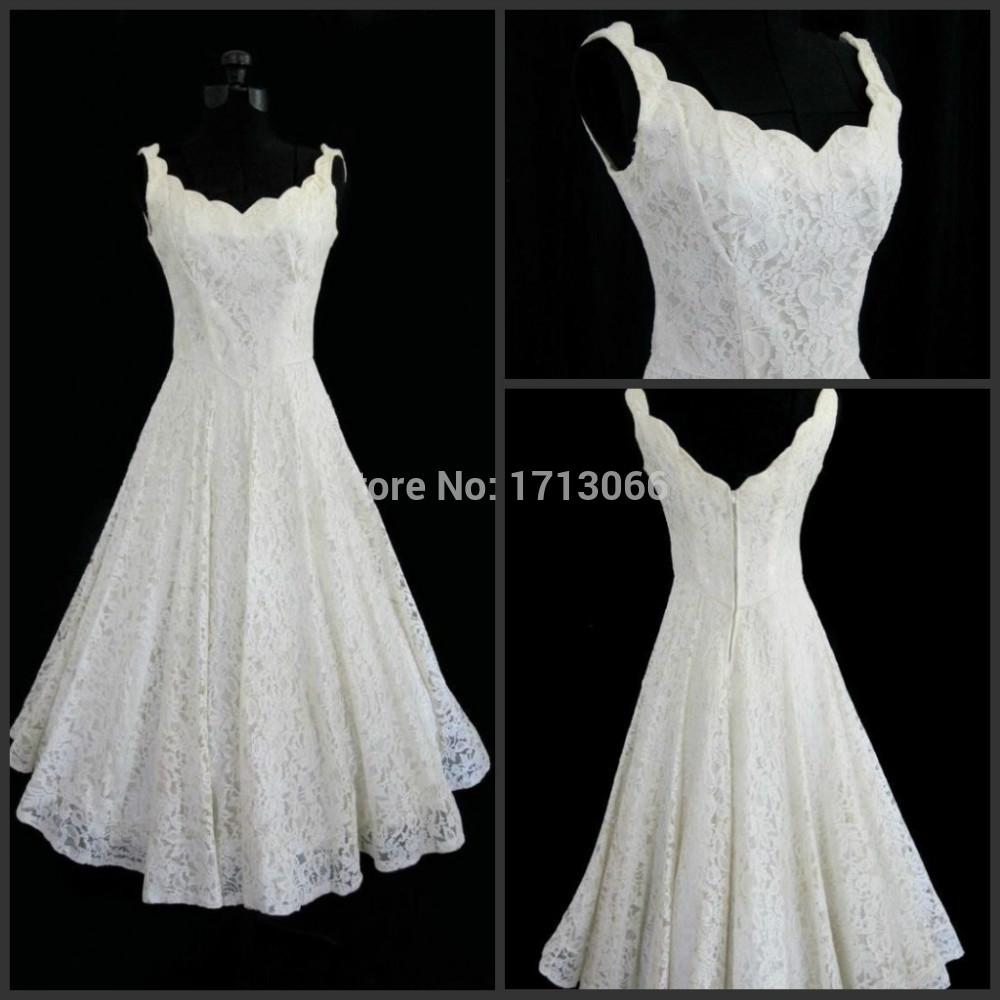 Real Photo 100 2018 A Line Full Lace Wedding Dresses Scoop