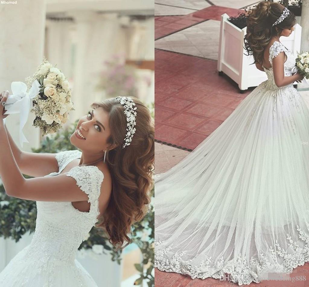 Старинные Арабские Линии Свадебные Платья Портрет Декольте Кружева Аппликации Развертки Поезд Корсет Обратно Свадебные Платья