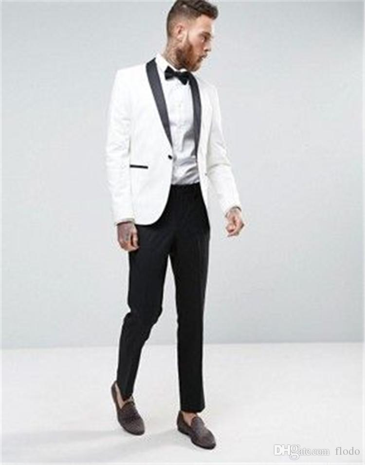2018 Black And White Wedding Groomsmen Tuxedos Shawl Lapel Two Piece ...