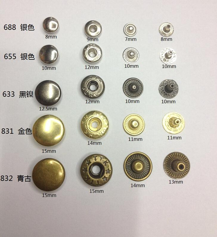 Iron Metal Snap Button Cowboy Clothing Button Magnetic Metal Button Sewing  Snap Bag Clasps Fastener Clothes Tool 1000Sets DHL Free
