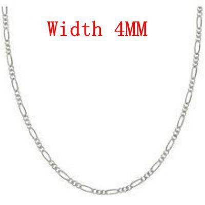 Moda venta por mayor de joyería 5pcs 4MM plata esterlina 925 sello Figaro cadena gargantilla collar 16quot;-24quot; CH