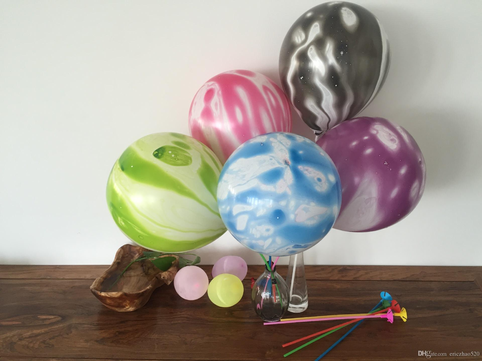 Cheap 10inch Wedding Decoration Agate Marble Balloons Colorful