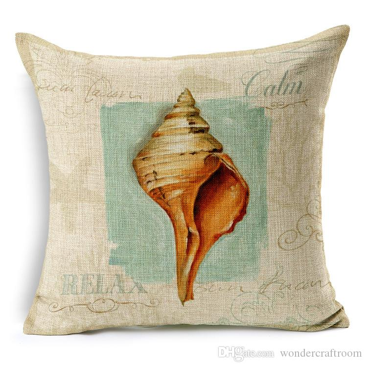 5 Styles Vintage Marine Biology Shell Conch Starfish Cushions Pillows Covers Sea Beach Light House Pillow Case Linen Cotton Cushion Cover