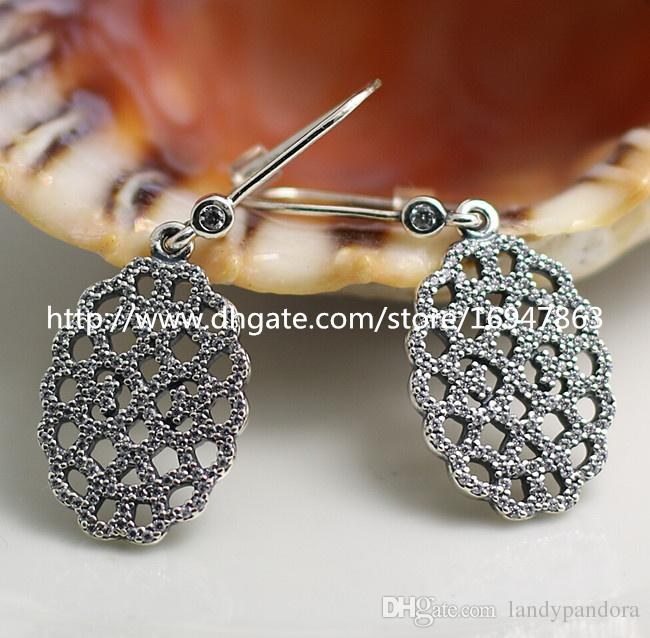 High-quality New 100% S925 Sterling Silver Earrings European Pandora Style Jewelry Earrings Shimmering Lace with Clear CZ Dangle Earrings