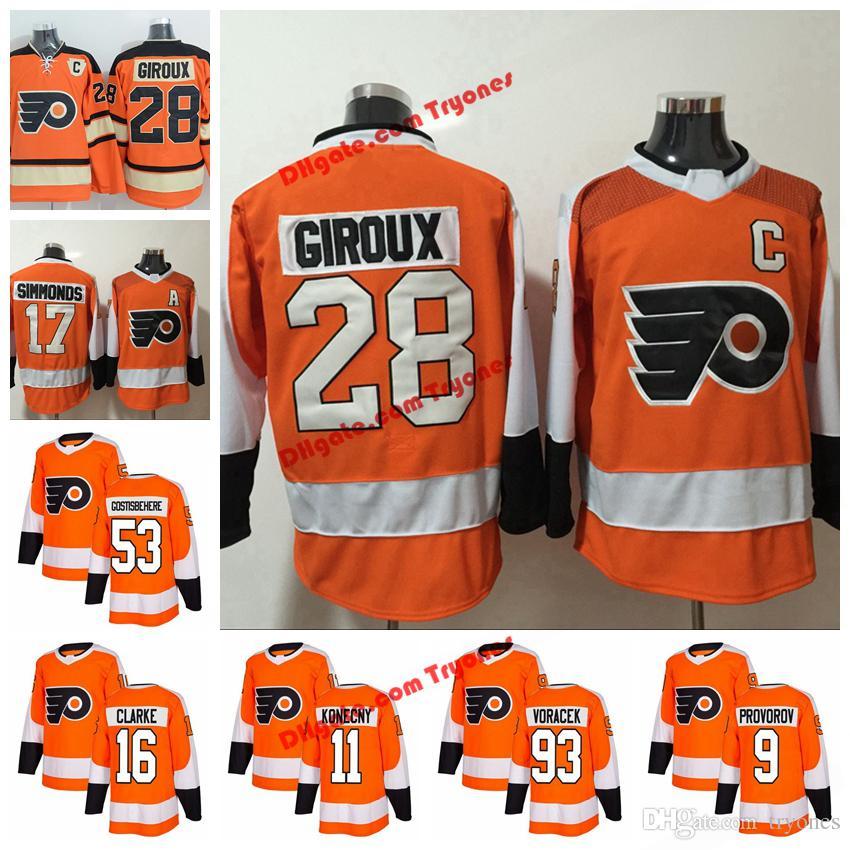 2019 2018 AD Philadelphia Flyers 28 Claude Giroux 17 Wayne Simmonds 93  Jakub Voracek 53 Shayne Gostisbehere Konecny Provorov Clarke Hockey Jersey  From ... eb138ce6b