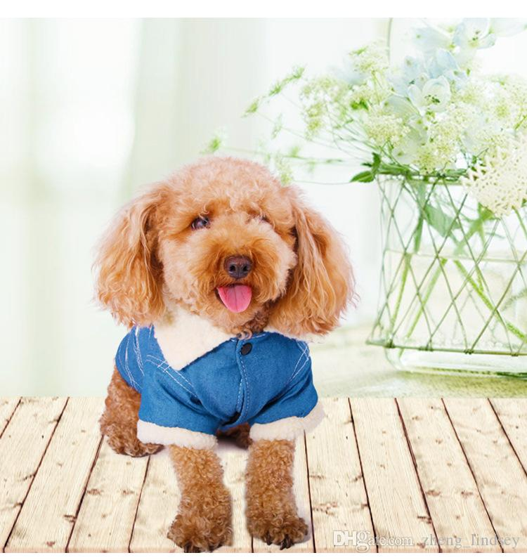 2017 High Quality Autumn and Winter Style Pet Dog denim jeans jackets for puppies cotton-padded clothes