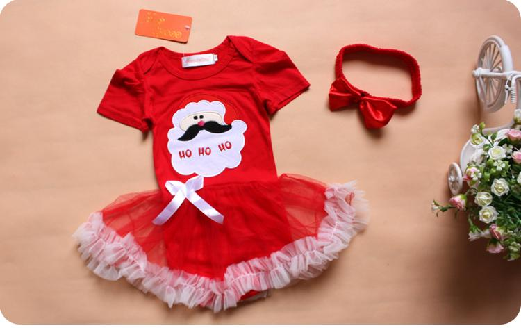 Retail Children Christmas Halloween Santa Pattern Short Sleeve Lace One-piece Romper+Red Headband Set Baby Girls Clothing Suits
