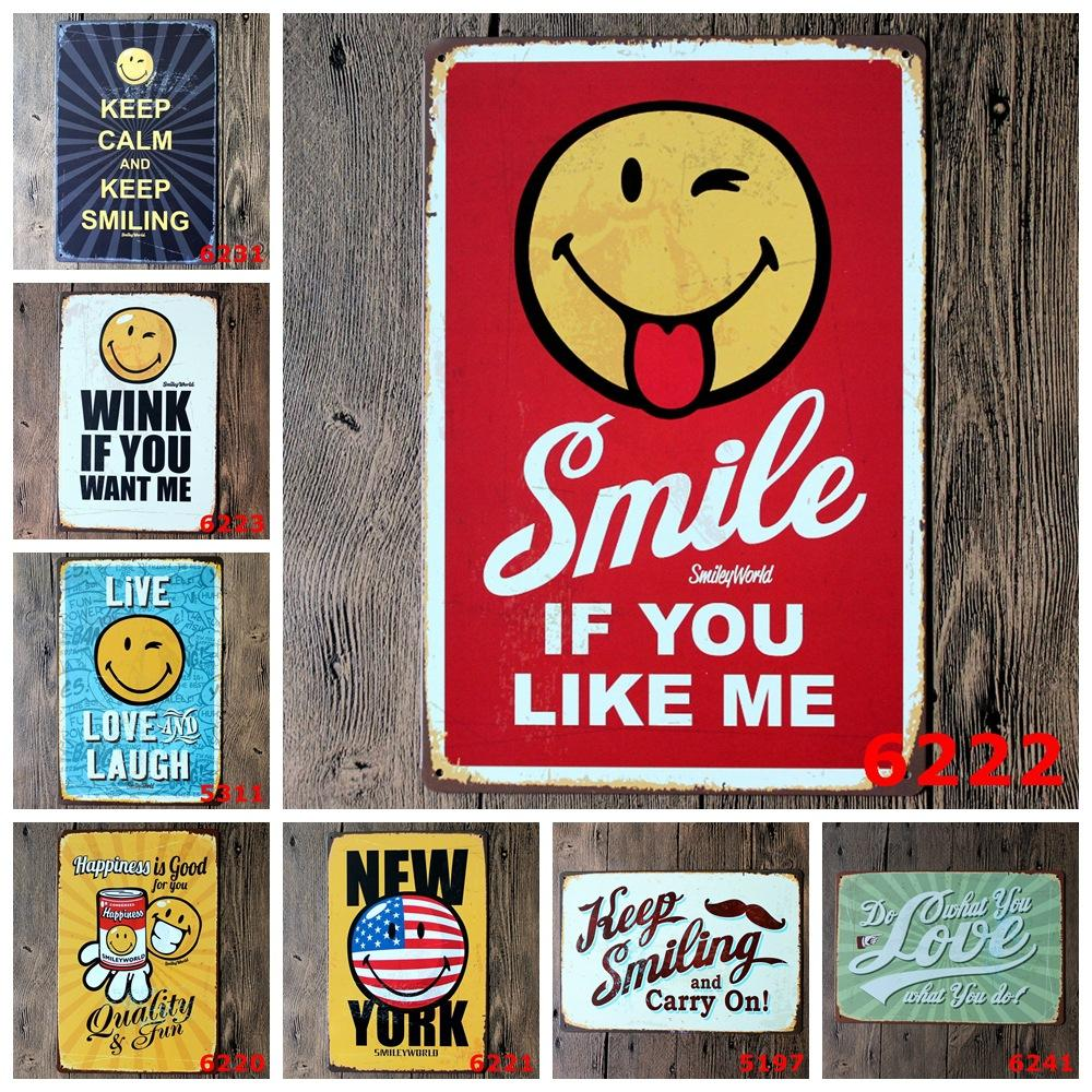 Fashion Drawing Calm Smiling Hotel Bar Pub Club Home Vintag Sign Tin Wall Decor Beer Metal Poster