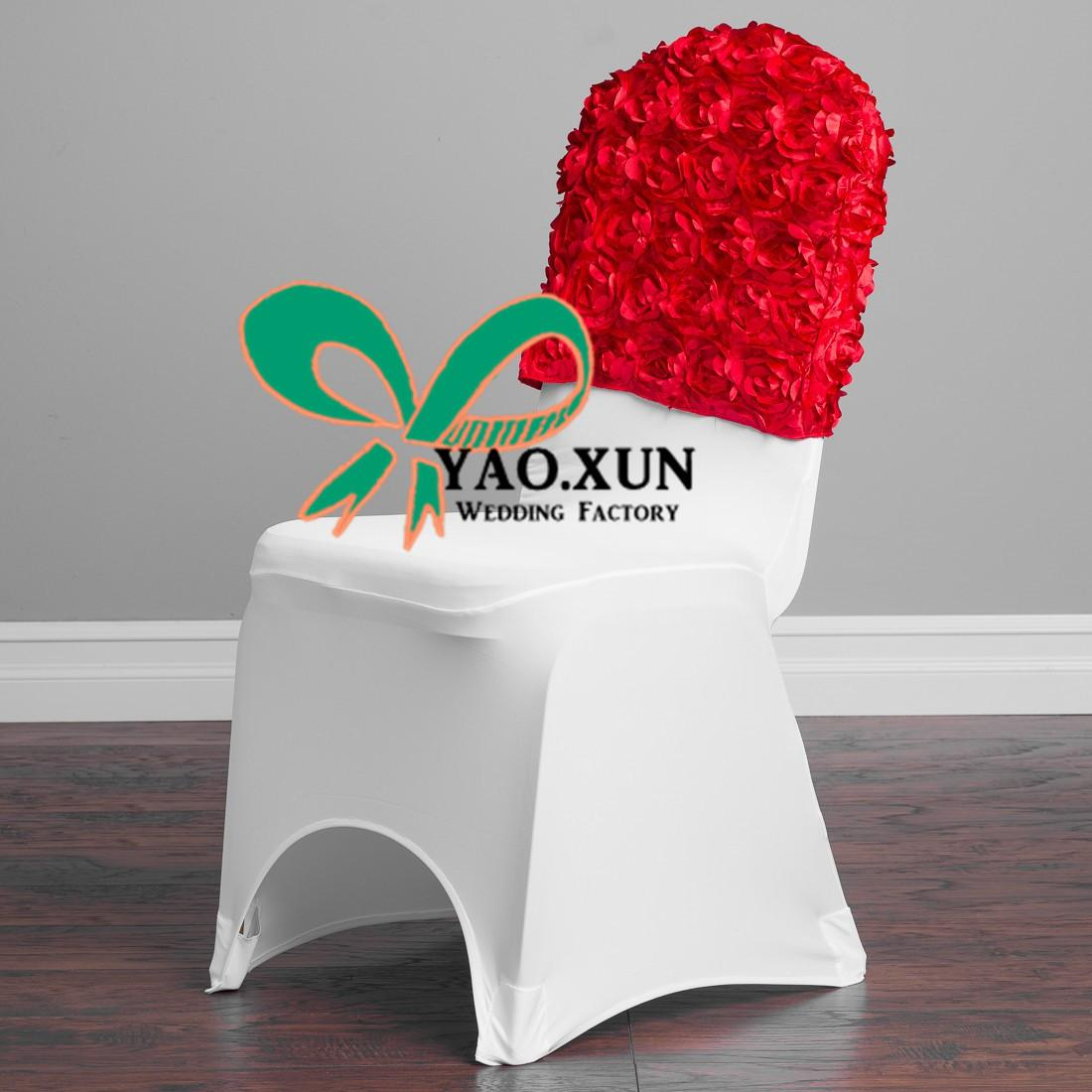 Cheap Price Satin Rosette Chair Cap \ Hood Used For Banquet Spandex Chair Cover