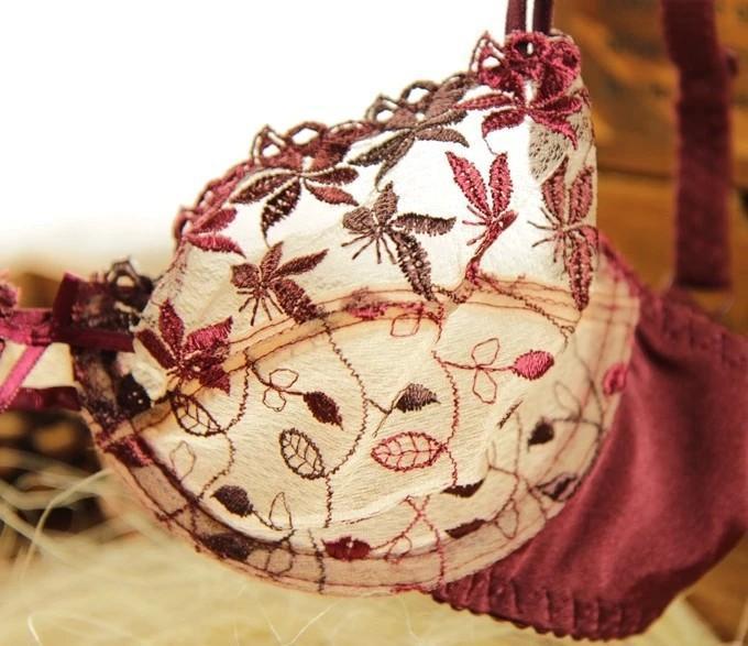 여름 프랑스 스타일 로맨틱 브랜드 숙녀 섹시한 underwire 울트라 얇은 플러스 사이즈 투명한 자수 통기성 레이스 Unlined 브래지어 세트